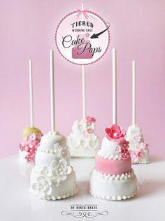 Three tiered wedding layer cake - cake pops - step by step tutorial by niner bakes Cupcakes, Cupcake Cookies, Owl Cookies, Wedding Cake Pops, Wedding Cookies, Wedding Pretzels, No Bake Cake Pops, Cake Pop Tutorial, Princesa Sophia