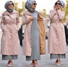 Coat with matched dress-Casual brownish outfits with hijab – Just Trendy Girls