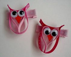 Items similar to Valentines Owl Hair clip (Ribbon Sculpture) on Etsy Ribbon Hair Clips, Ribbon Hair Bows, Diy Hair Bows, Ribbon Projects, Ribbon Crafts, Barrettes, Hairbows, Ribbon Sculpture, Diy Hair Accessories