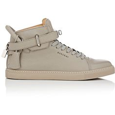 Buscemi Men's 100MM Sneakers ($890) ❤ liked on Polyvore featuring men's fashion, men's shoes, men's sneakers, light grey, mens leather sneakers, mens grey high tops, mens shoes, mens lace up shoes and mens black leather high top sneakers