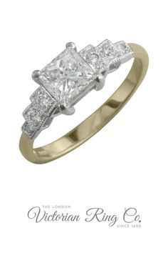 This two tone ring setting features stepped diamond shoulders in the style of the 1920s and 1930s.The guaranteed conflict free diamond of your choice can be set as the centre gemstone. Please contact us for GIA certified diamonds. #artdecorings #vintageengagementrings #princesscutdiamondrings #twotonerings #hattongarden Art Deco Ring, Art Deco Jewelry, Princess Cut Engagement Rings, Vintage Engagement Rings, Hatton Garden, Gia Certified Diamonds, Vintage Style Rings, Diamond Art, Gold Platinum