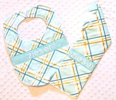 Personalized Burp Cloth and Bib Set with Bow Tie - Teal and Gold Plaid
