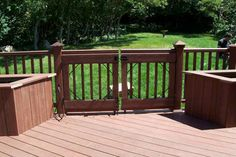 One Level Trex Accents® Saddle Wood Deck with Lighting and Gate - traditional - patio - salt lake city - Mountain West Decking