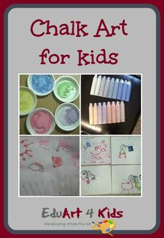 Doing chalk art with children is very flexible as the pieces of chalk are large and you can do it outside with any age child Summer Art Projects, Toddler Art Projects, Projects For Kids, Easy Crafts For Kids, Art For Kids, Preschool Art, Chalk Art, Creative Kids, Art Activities