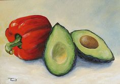 Avocado with Bell Pepper, print available at FineArtAmerica.com
