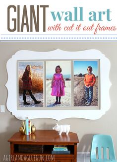 giant wall art with cut it out frames: a girl and a glue gun