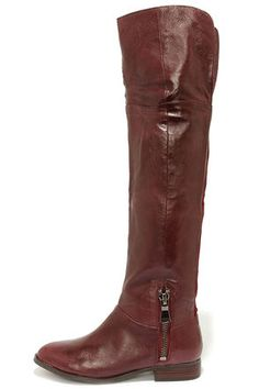 Chinese Laundry Fawn Leather Over the Knee Boots in Bordeaux | LuLus.com