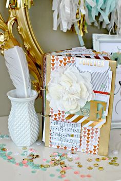 LOVING WHITE ITALIAN CREPE PAPER WITH MY NINE & CO NEW LINE. LOVING THE GOLD LEAF FEATHER TOO. -TERESA COLLINS