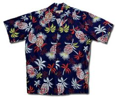 """FREE SHIPPING - EVERY ORDER, EVERY DAY!""""Pineapple Palm"""" (Navy) a classic 1930's replica by Pineapple Juice. Two of Hawaii's defining icons in our classic print.  100% Rayon  Sometimes called """"poor mans silk"""" rayon and spun rayon Hawaiian shirts became popular in the 1930's due to their brilliant sheen and being exceptionally cool in warm weather. Rayon is a man-made fiber but it is not considered a synthetic, because it is made from a natural product."""