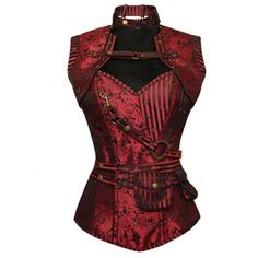 Red Brocade Corset Jacket Steampunk Costume