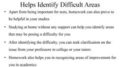 Get customized homework help for your college homework in over 60 subjects. Visit http://classof1.com/ to get help, NOW!!  Importance of Homework in College: This document explains the reasons why homework is important to college students.