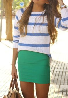 blue stripes and emerald skirt