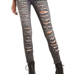 Zipper-Cuff Destroyed Charcoal Skinny Jeans - Gray Denim