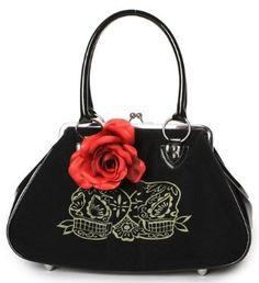 Lux De Ville Lucky Me Kiss Lock Sugar Skulls Bag Retro Pinup Rockabilly Hotrod Casual Chic, Style Casual, My Style, Black Handbags, Purses And Handbags, Trendy Clothing Stores, Clothing Styles, Clothing Accessories, Skull Purse