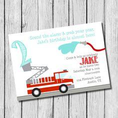 Firetruck Birthday Invitation - DIY Printable - Fireman Birthday Party, Kid's Invitation
