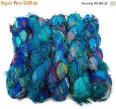 SALE Sari Silk Fuzzy Ribbon, Irredescent , Green mix