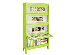 We used frost-effect spray paint to get this look #fleamarketflip #DIY #hgtvmagazine http://www.hgtv.com/handmade/how-to-barrister-kitchen-organizer/index.html?soc=pinterest   Love this idea just not the lime green color!
