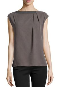 Halston Heritage - Cap-Sleeve Boatneck Top with Pleats: The neutral colors and boat neckline of this blouse are so work appropriate.