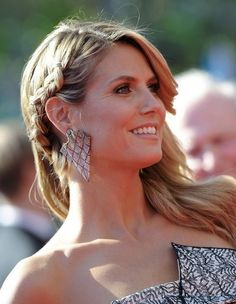 Heidi Klum Hair Styles 2014: Side Braided Hairstyle