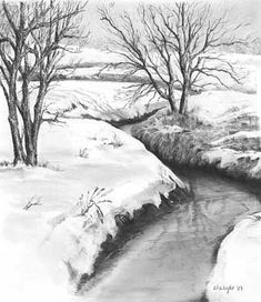 'Lingering Winter'graphite pencil drawing by Diane Wright #LandscapeDrawing