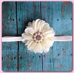 Mini Flower Petal Glitter Headband Pearl Headband Christening Headband Ivory Headband
