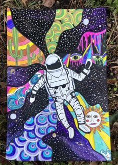 Space themed psychedelic art Psychedelic Drawings, Trippy Drawings, Cool Art Drawings, Easy Canvas Art, Small Canvas Art, Posca Art, Trippy Painting, Art Painting Gallery, Art Prompts