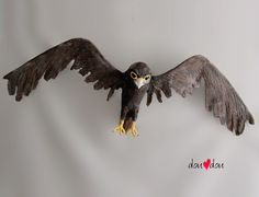 """Custom Hawk Sculpture  Can hang from the ceiling or on the wall  Different birds available.  60"""" wingspan"""