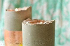 Mandilicicous Christmas Project 5: Copper Leafed Concrete Candle Pillars - Vintage Revivals