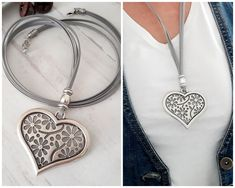 Excited to share the latest addition to my shop: Big carved silver heart pendant for women Heart pendant Boho Leather jewelry Street style Gift for Her Urban style for everyday Stacked Necklaces, Handmade Necklaces, Heart Necklaces, Handmade Jewelry, Leather Necklace, Boho Necklace, Leather Jewelry, Circle Earrings, Round Earrings