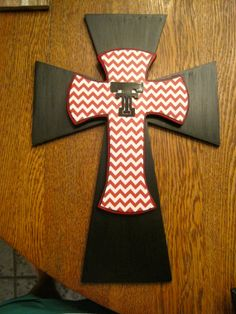 Your place to buy and sell all things handmade Red Black, Red And White, Wood Crosses, Texas Tech, Black Chevron, Trek, Solid Wood, Great Gifts, Symbols