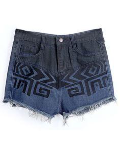 Navy Fringe Geometric Print Pockets Denim Shorts - Sheinside.com