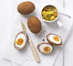 Scotch eggs~Use a few chef's tricks to create the perfect sausage and egg snack with this step-by-step recipe.