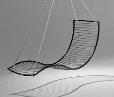 Curve hanging swing chair by Studio Stirling Macrame Hanging Chair, Hanging Hammock Chair, Swinging Chair, Hanging Chairs, Balcony Chairs, Garden Chairs, Outdoor Chairs, Swing Chairs, Outdoor Swing Chair