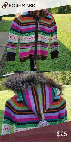 💕V DAY SALE💕Baby jacket💕 Eeek!! This is the cutest little jacket! It is made like a sweater, thick, colorful, the hood has faux fur with adorable ball attatched, zipper close, and great condition! So adorable!! GAP Jackets & Coats