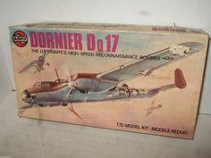Vintage Airfix 04014-1 Dornier Do17 Model Kit in 1:72 Scale.