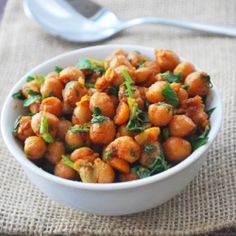 Spicy chickpeas - chickpeas are briefly sautéed in seasoned olive oil.