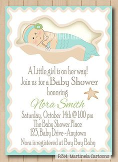 Mermaid Themed Baby Shower Invitations