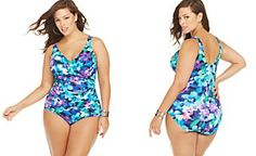 INC International Concepts Plus Size Printed Crisscross One-Piece Swimsuit