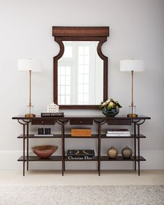 Love this #transitional console table for the #foyer entryway