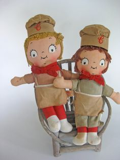 This listing is for a pair collectible advertising dolls sold by the Campbells Soup Company. They are about 12 tall to top of the hat. These dolls are pretty cute but they do have some stains on them as you can see in the pictures.These cloth dolls made by the Knickerbocker company.    Be sure to check out my other site http://www.etsy.com/shop/WellRedDesign which features more great vintage items, antique maps and my artwork.    Have any questions? Contact the shop owner....