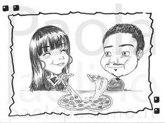 Caricatura di una giovane coppia di fidanzati davanti una succulenta e calda pizza! www.paolapaolino.it #caricature #caricatura #caricaturista #ritrattista #illustrazione #arte