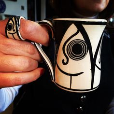 Coffee cup with matching ring. Matching Rings, Coffee Cups, Black And White, Mugs, Craft, Beautiful, Design, Coffee Mugs, Black N White