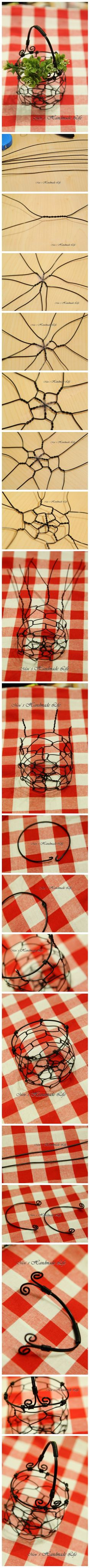 DIY a wire basket for a recicled glass jar (with candels, wild flowers, sweets in a party, ... )