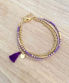 Bracelet Violet multi rangs perles miyuki plaqué or 16k