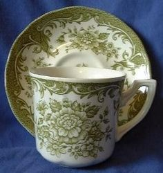 Decorative Dishes - Sage Green Toile Roses Vintage Cup