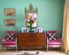 Aqua green, pink and chocolate , great space