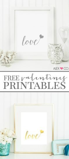 Free Valentines Printables | Silver and Gold on white