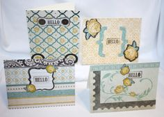 "Handcrafted by Teal Palmetto, LLC.  Four cards in colors of pale yellow, teal, cream, and brown to send a cheery ""Hello"" to a loved one or a friend.  Price: $10."