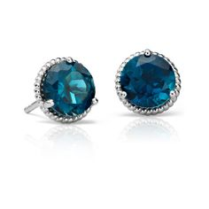 Blue Nile London Blue Topaz Rope Stud Earrings (26.915 HUF) ❤ liked on Polyvore