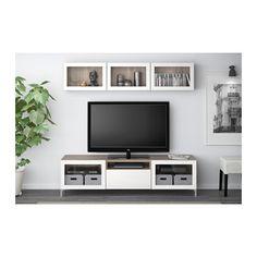 BESTÅ TV storage combination/glass doors - walnut effect light gray/Selsviken high gloss/beige frosted glass, drawer runner, soft-closing - IKEA